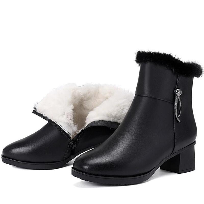 Сапоги Элегантные Мода Зимний Снег Теплая Обувь Женщина Натуральная Кожа внутри плюшевых шерстяных Лодыжки Толстый каблук Плюс Размер