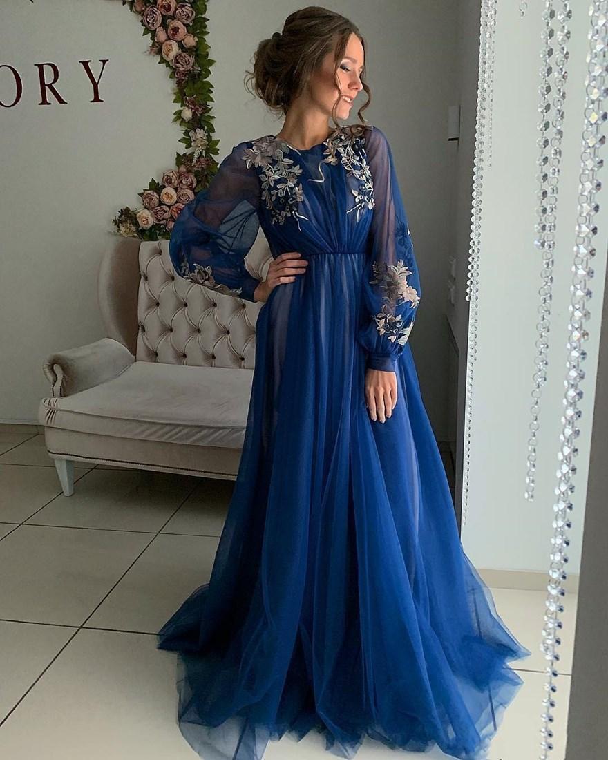 2021 Mavi Zarif Uzun Kollu Abiye A Çizgi O-Boyun Robe De Marrige Düğmeler Geri Tül Resmi Bayan Balo Abiye Vestidos Artı Boyutu
