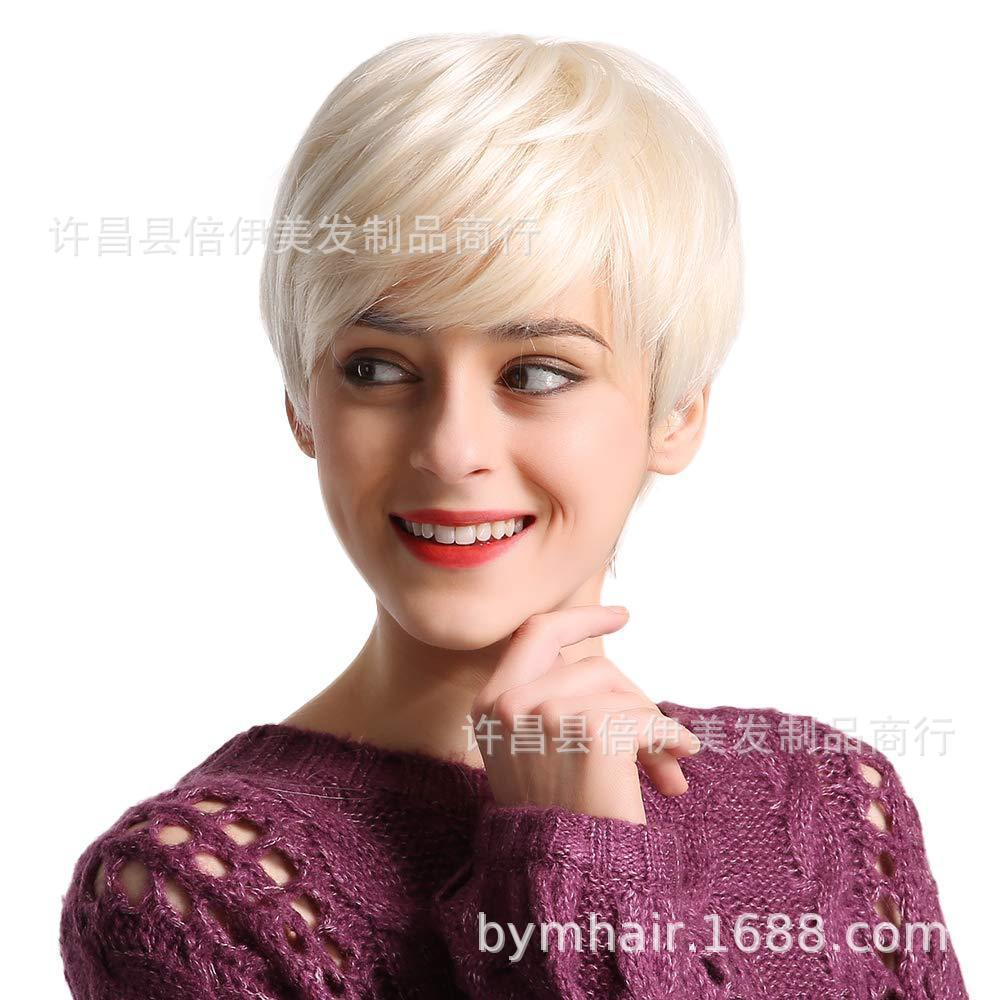 Frauen Perückenkopf Set Gold Kurzes Haar Hochtemperaturfilament