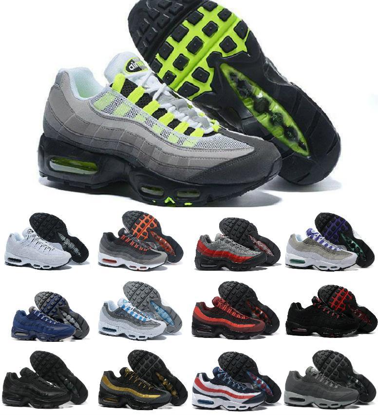 Al por mayor ultra 95 og x 20 aniversario hombres correr zapatos deportivos 95s entrenador aire negro suela gris azul de alta calidad chaussures tenis zapatos de tenis