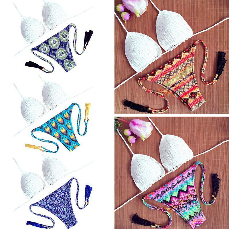 Açık Yaz Yeni Klasik Tığ Bikini Setleri Kadınlar Saf El Yapımı Üst Seksi Halter Mayo Çiçek Baskı Düşük Bel SWI