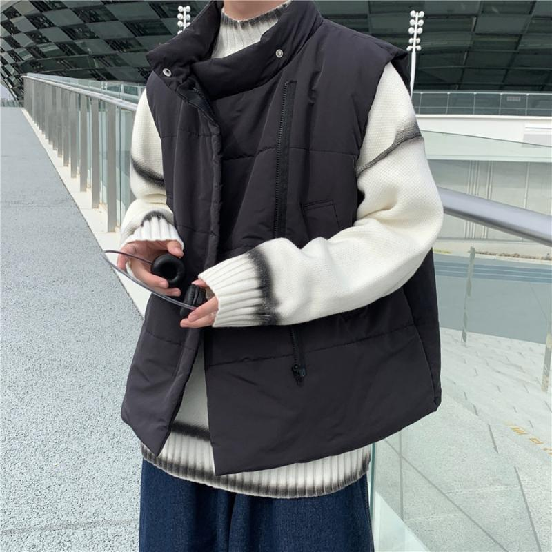 الرجال سترة الخريف والشتاء قصيرة بلا أكمام معطف بلون موقف الوقوف الياقة فضفاضة الدافئة السترات بسيطة عارضة الذكور الملابس