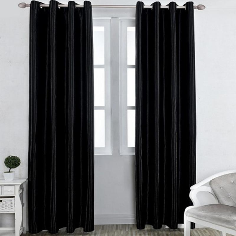 Curtain & Drapes 90% High Shading Home Curtains In The Living Room Decor Solid Color Ready Made Grommet Black For Kitchen Bedroom
