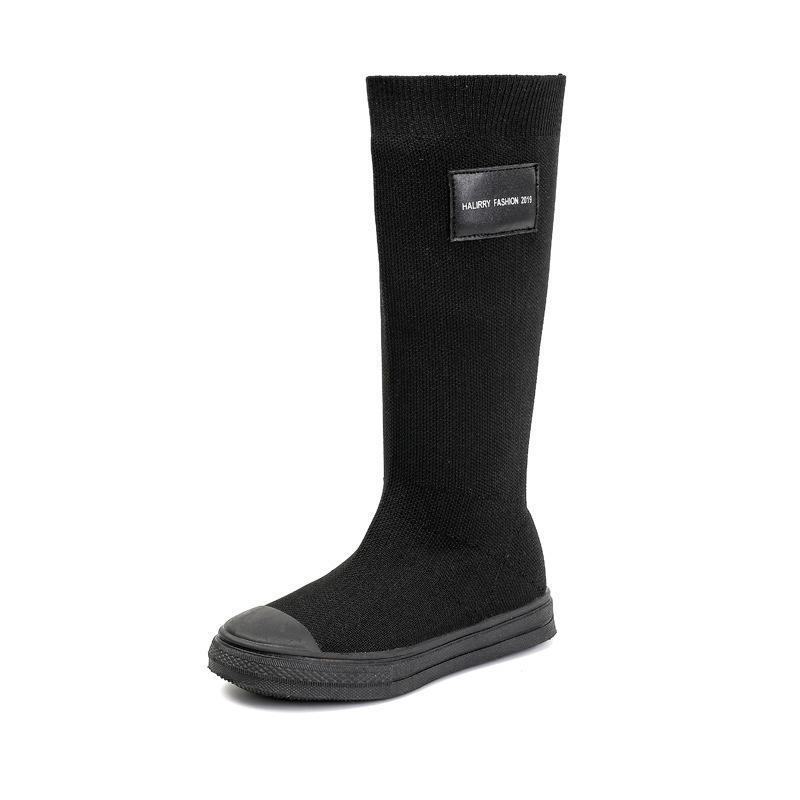 Длина колена ELASTC вязаная ткань детская обувь детские ботинки осень зима мода Высокая часть студент обувь для девочек кроссовки D08182 201128