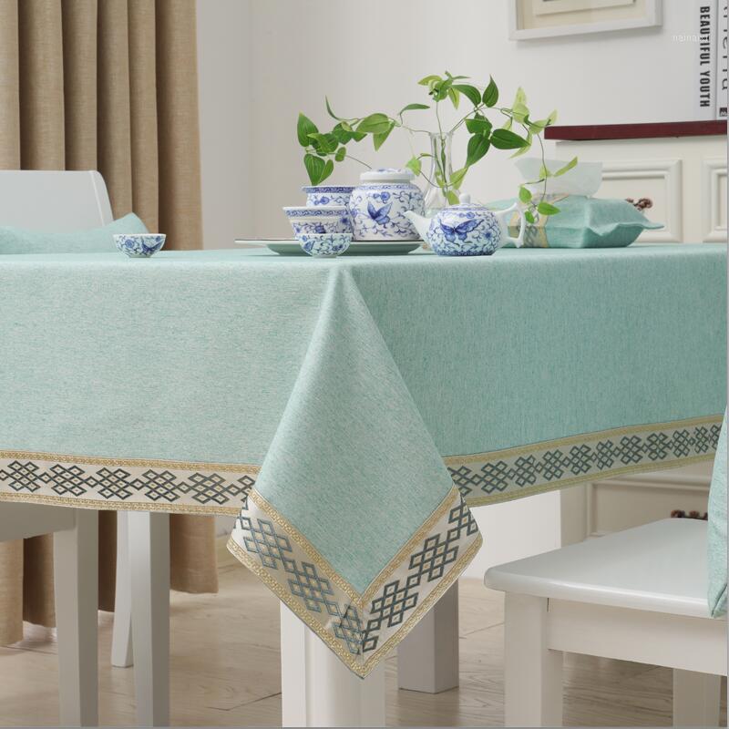 Capa de mesa retangular de pano de mesa de Natal para festa de casamento Toalha de mesa de almofada de algodão de poliéster espesso sólido1