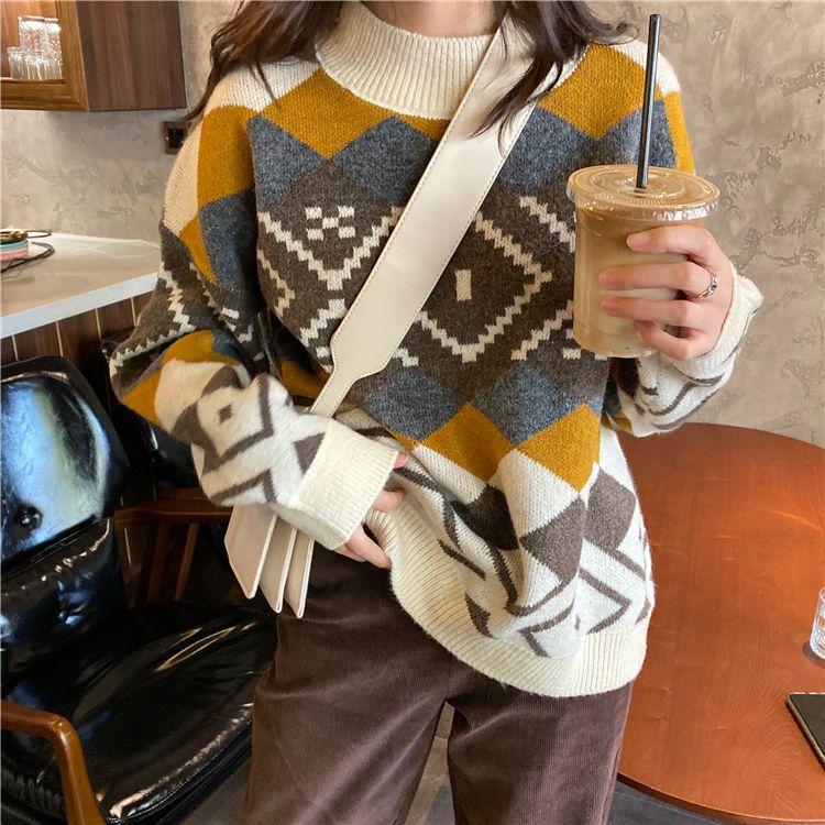 2021 Autumn Winter Argyle Printed O-Neck Full Sleeve Sweater for Women Female Regular Knitted Sweater Pullovers