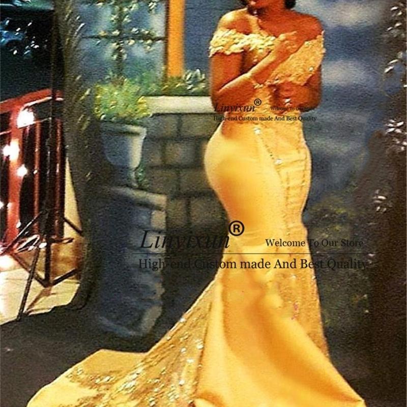 Африканский Нигерийский Желтый Русалка Пром платья с плеча шнурка Sequined сатин выпускного вечера платья Arabic платье на заказ 201119