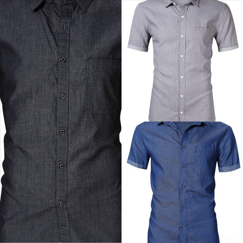 0hon casual manica corta jeans uomo casual casual jeans short jeans shirtleeve camicia da uomo
