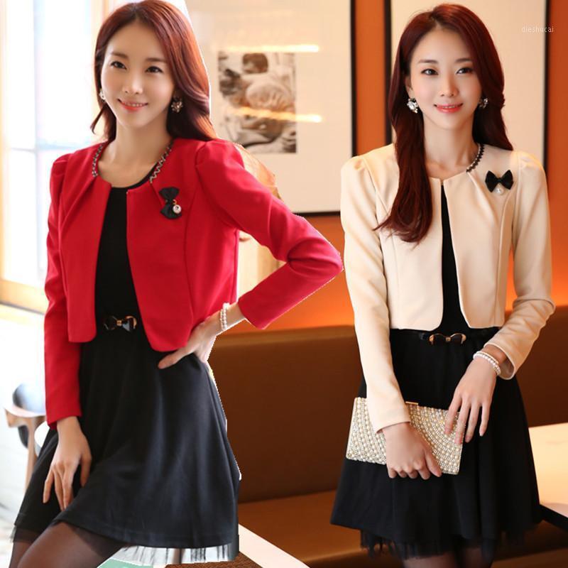F~3XL Plus Size Women Ladies Fashion Bow Brooch Open Front Bolero Tops Puff Long-sleeve Blazer Suit Short Shrug Jacket Cape1