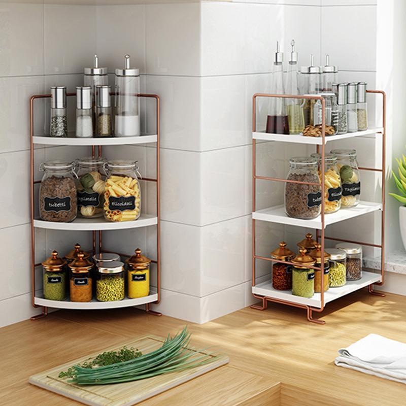Multifunción apilable estante de cocina organizador estantes para especias metal 2/3 niveles rack de almacenamiento de oro rosa para cocina de cocina