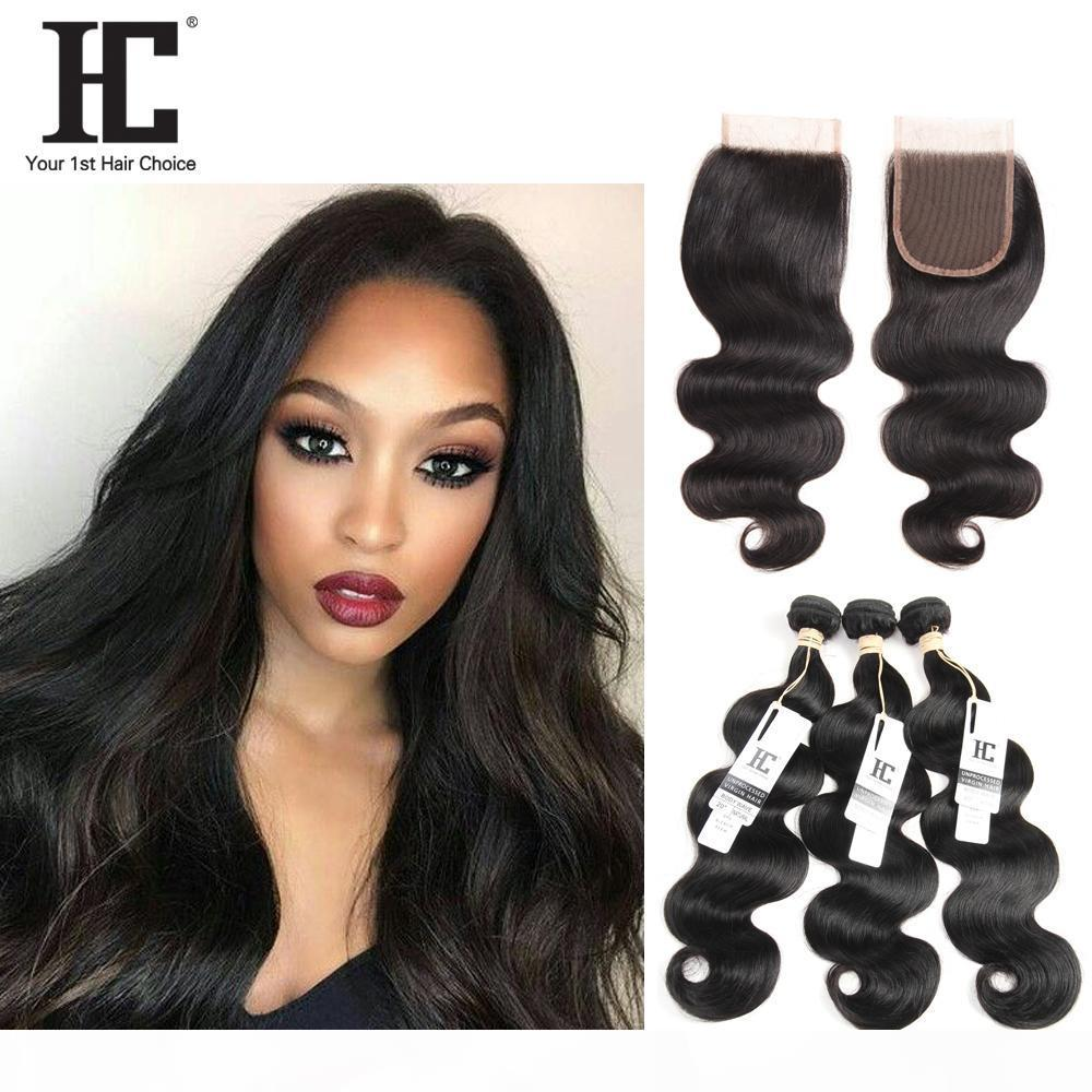 HC-Haar Brasilianisches Reines Haar mit Verschlussverlängerungen 3 Bündel Brasilianische Körperwelle mit 4x4-Spitzenverschluss Unverarbeitete remy menschliche haare webart