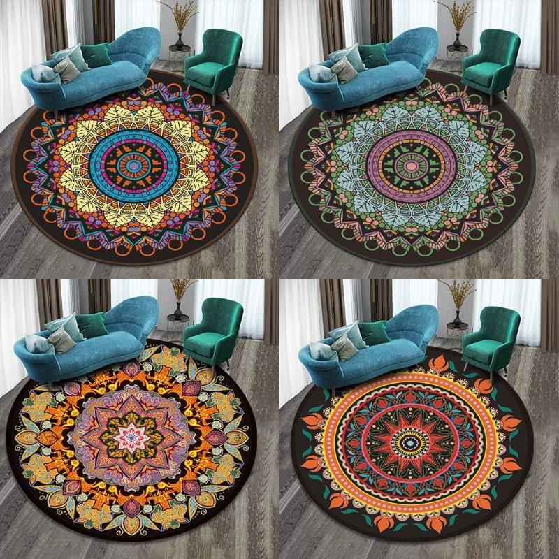 60 * 60 cm mandala tappeto rotondo tappeto poliestere illusione tappeto tappeto stampato tappeto tappeto divano sedia tappeti tappeti tappeti tappeti per camera da letto tappetino