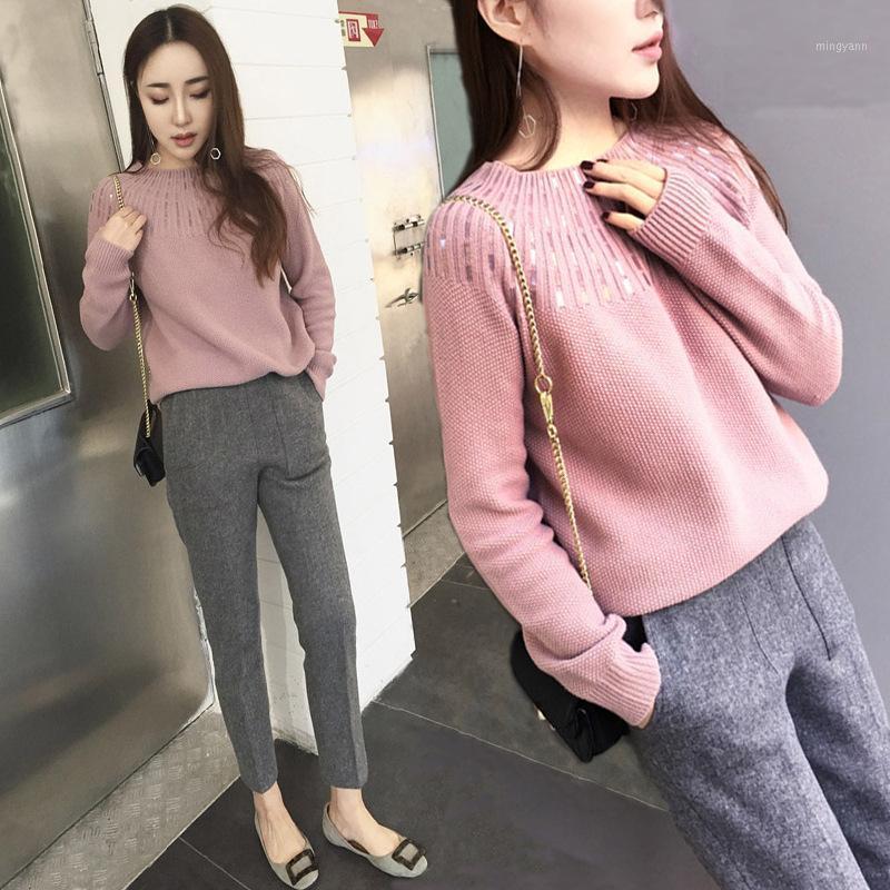 Damen zweiteilige Anzug 2020 Herbst und Winter gestrickte lockere langärmlige Pailletten dekorative Botting-Hemd + Slim neun Hosen1