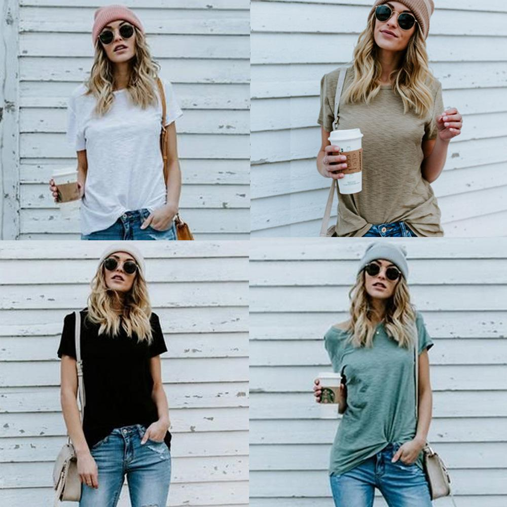 Summer 2021 New Short Sleeve Casual Fashion Solid Color Women's T-shirt