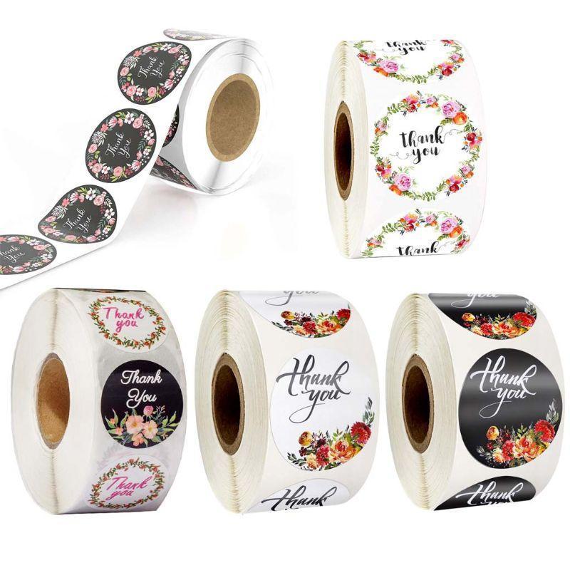 500pcs / rouleau floral Merci Sticker pour la marque Sceau Scrapbooking Décor de Noël 57bb