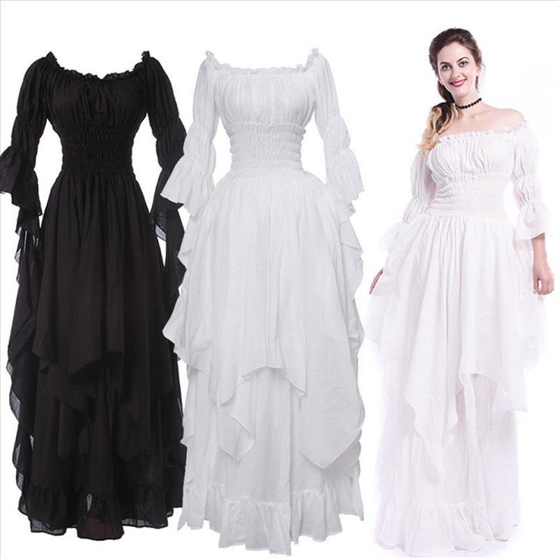 Vestito medievale vittoriano vintage rinascimentale nero abito gotico donna cosplay costume di halloween ball princess gown plus size 5xl