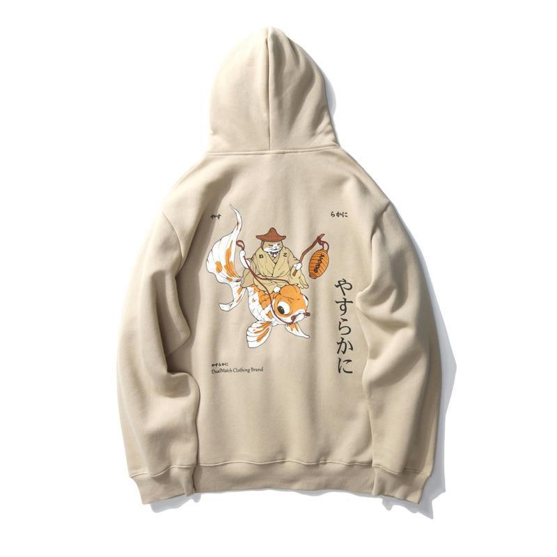 Sweats à capuche Sweats Japonais Sweatshirts Épaissir Capuche Koi Fish Cat Imprimer Streetwear Streetwear Femmes Mode Hip Hop Couple Sweat à capuche C1212