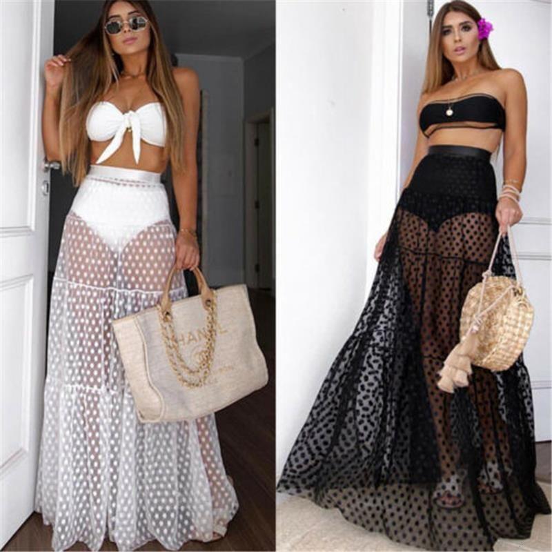 Mujeres sexy falda alta cintura cubierta cubiertas de verano transparente largo maxi falda femenina playa malla cubierta UPS