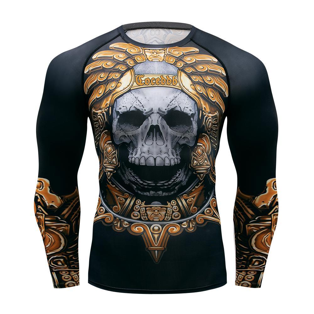 T-shirt de remise en forme pour hommes T-shirt de compression sèche rapide Homme en cours d'exécution Gym Tops 3D Crâne Impression T-shirt MMA Aztec Sparta T-shirt LJ200827