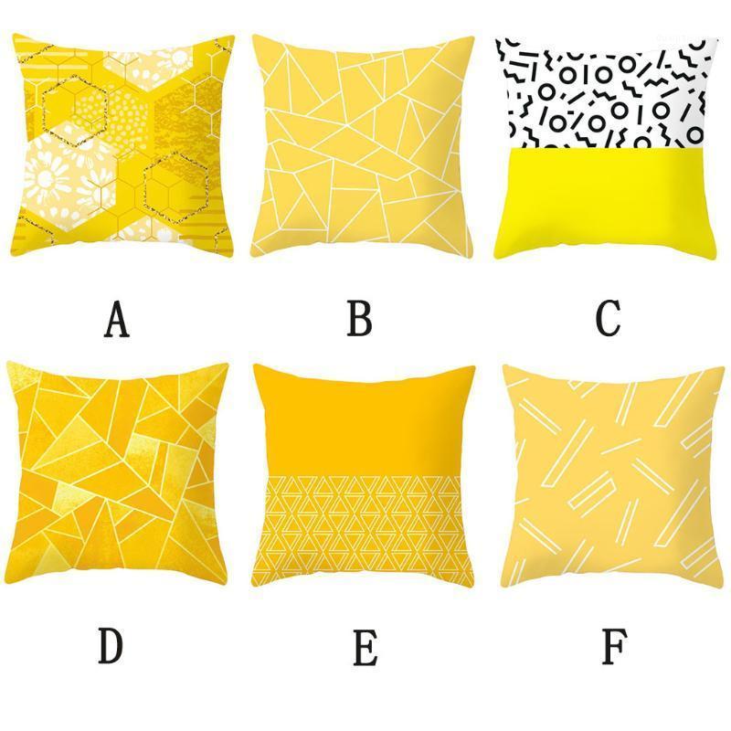 45x45cm Funda de almohada a rayas amarilla Tiro geométrico Cojín de almohada de cojín de impresión Cojín de almohada Dormitorio Oficina L07241