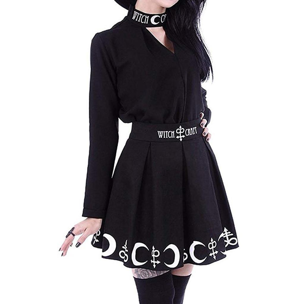 Goth Skirts Women 2020 Gothic Punk Pleated Mini Skirt Rock Girls Witchcraft Moon Magic Spell Symbols Skirt jupe
