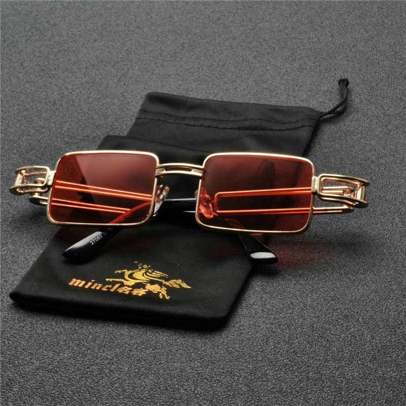 Óculos óculos amarelo amarelo quadrado vintage sol retrô óculos de sol rosa para homens Novo vermelho punk metal marca mulheres quadro fml xlipn