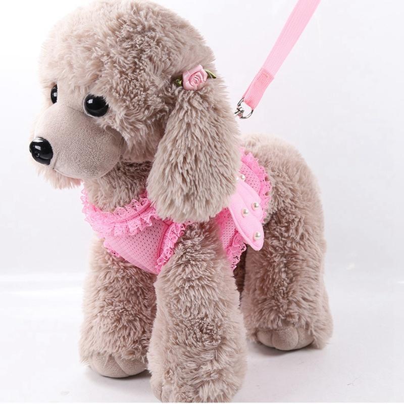 Linda mascota arnés correa ángel ala princesa perla perla ajustable conductores para pequeños perros grandes grandes