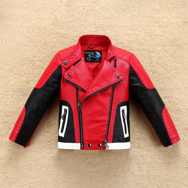 Красивый крутой дизайн мальчики кожаный моторный пиджак для осенью весна детские теплые пальто bomber baby мальчик зимняя одежда 201216