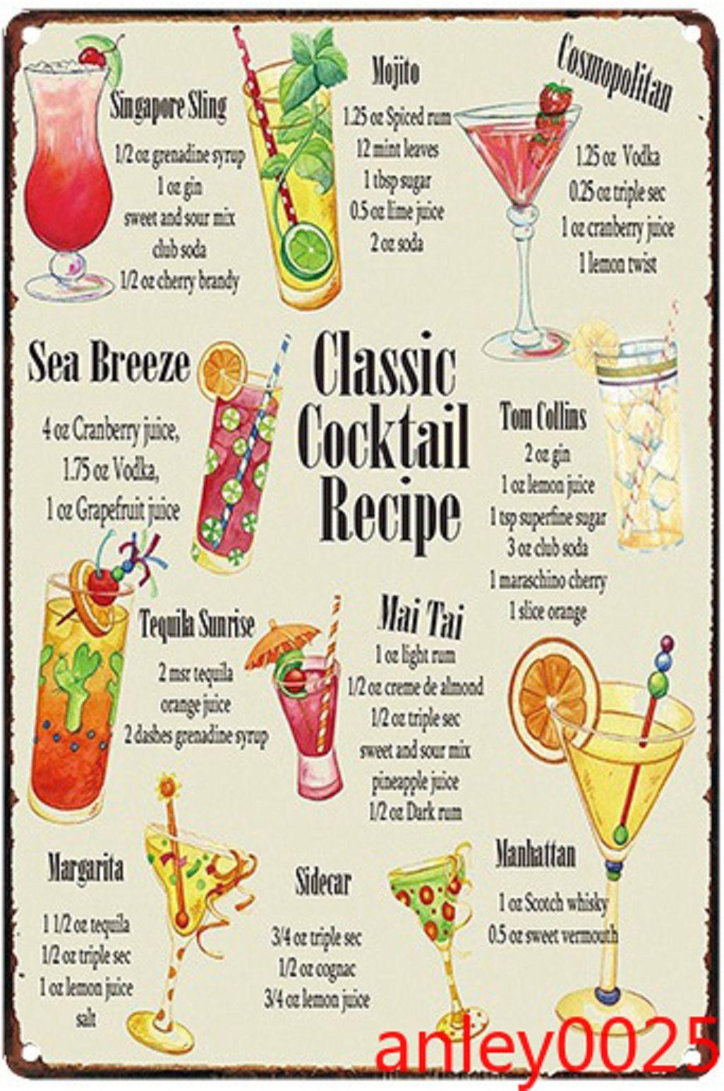 Classico cocktail ricetta vintage metallo stagno segni bar pub decorazione della parete domestica decorazione della parete di ferro pittura retrò placca arte manifesto