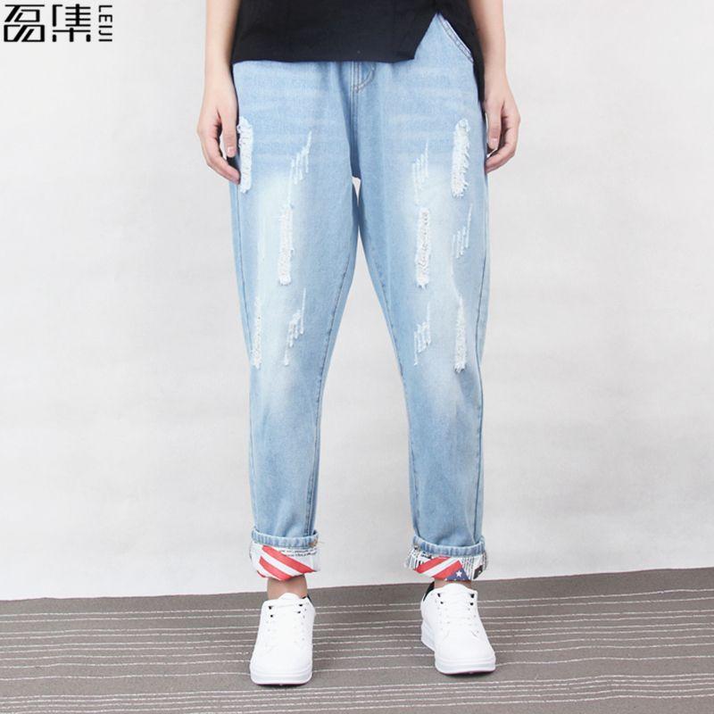 Jeans déchirée Femmes Boyfriend Coton Coton Crowstring Mom Jeans Plus taille Denim Denim Harem Pant 6XL T200423