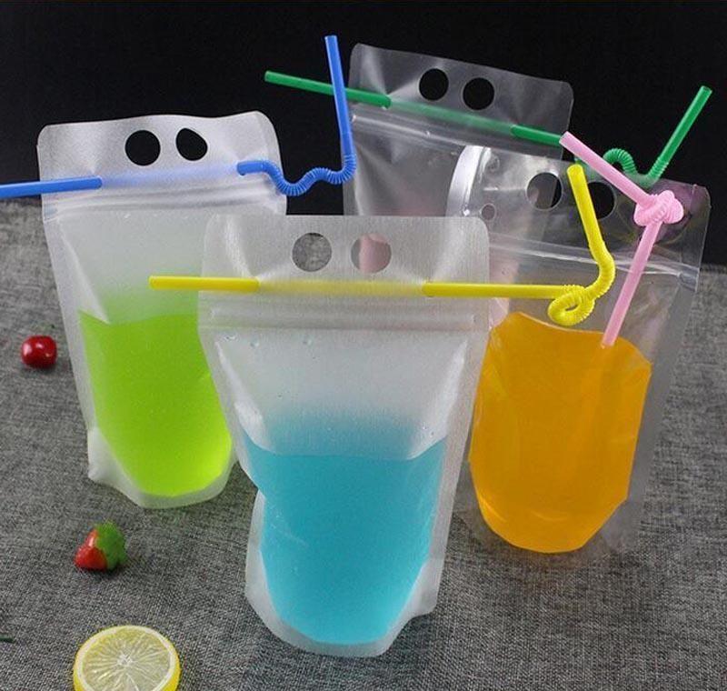 17oz 500ml Bolsas de bebidas claras Bolsas con cremallera helada Soporte de plástico Bolsa de consumo de plástico con paja con el soporte R Jlltsi DH_Niceshop Fumxx