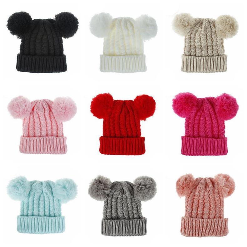 Kids Knitted Hats Crochet Pom Pom Beanies Hat Woven Lovely Twin-Ball Girls Caps Warm Stretchy Cap Children Woolen Knitt Hats DDC4198