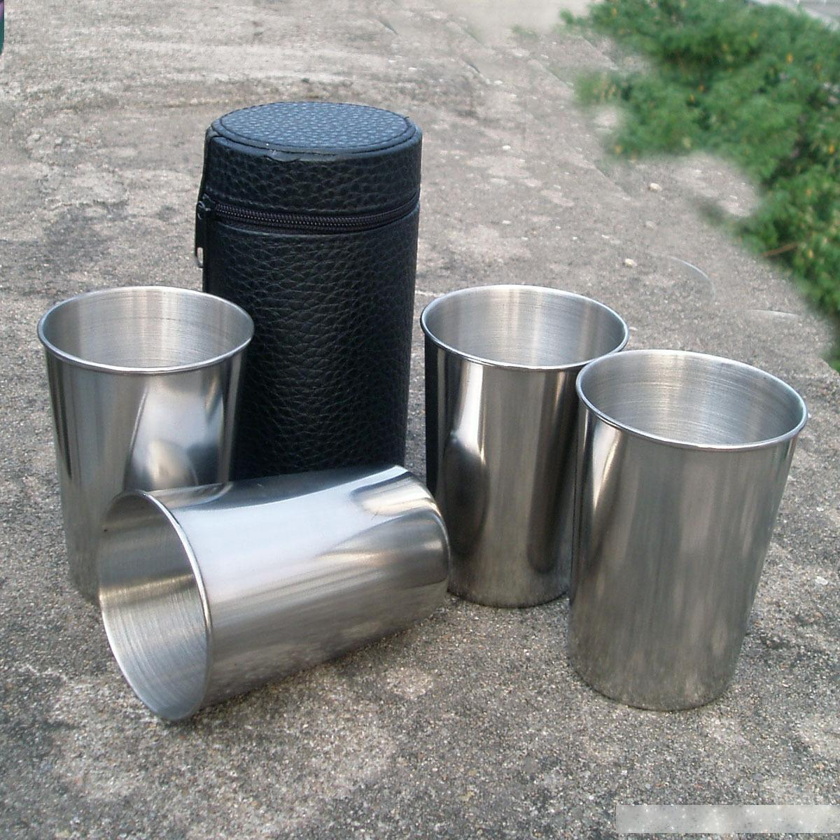 50 мешков (4шт / сумка) 155 мл стали из нержавеющей стали, 4шт в одной кожаной сумке