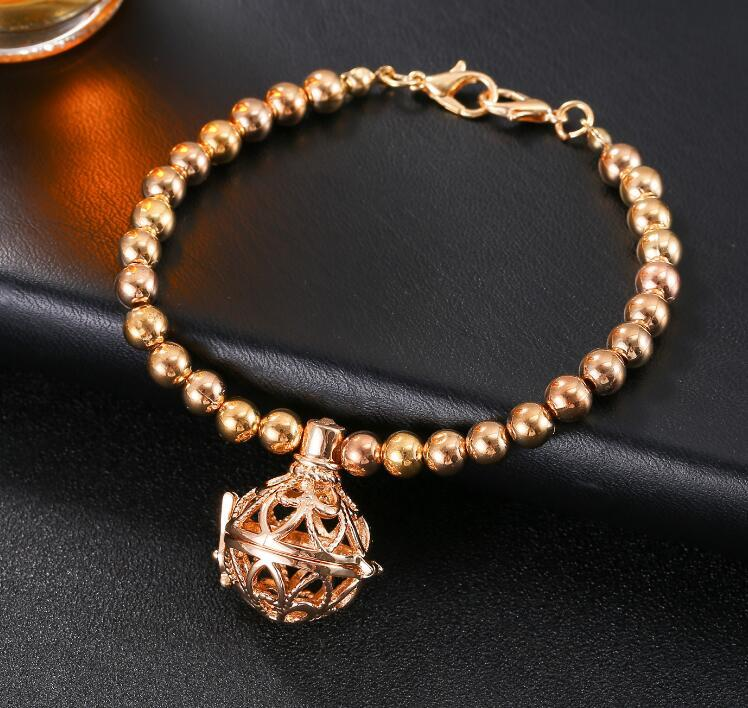 Aromatherapie-Diffusor-Armband-Silber überzogene aushöhlen Herz-geformte ätherische Ölarmbänder Perlen Armbänder Modeschmuck