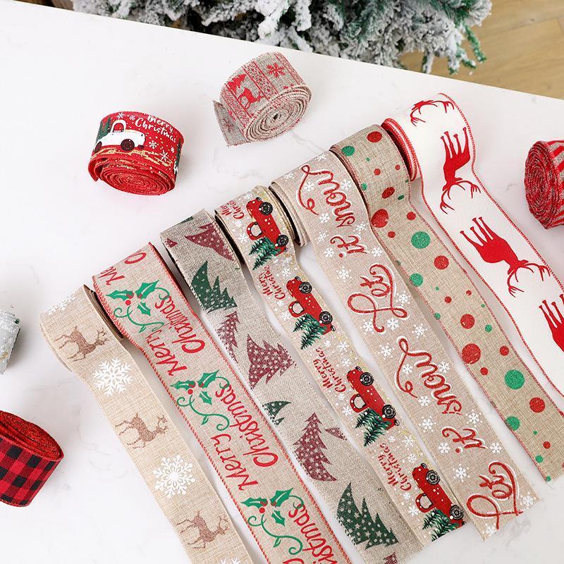 200 cm Keten Şerit Noel Hediye Kutusu Kurdela Parti Kaynağı Noel Yay Şerit Yüksek dereceli Noel Ağacı Süslemeleri Ev IIA925