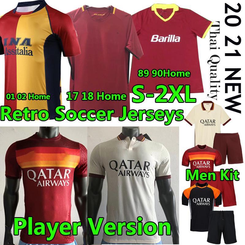 Maillot Roma Retro Soccer Jersey Vintage Classic 01 02 17 18 89 90 de Rossi Dzeko Leader Version Men Kit Jerseys