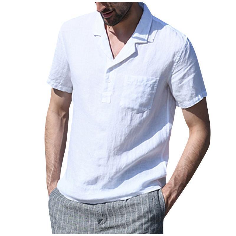 Jaycosin New Mode Summer Casual Hommes Chemise Chemise en coton à manches courtes à manches courtes Solide Chemises Vintage Man Blouse quotidien