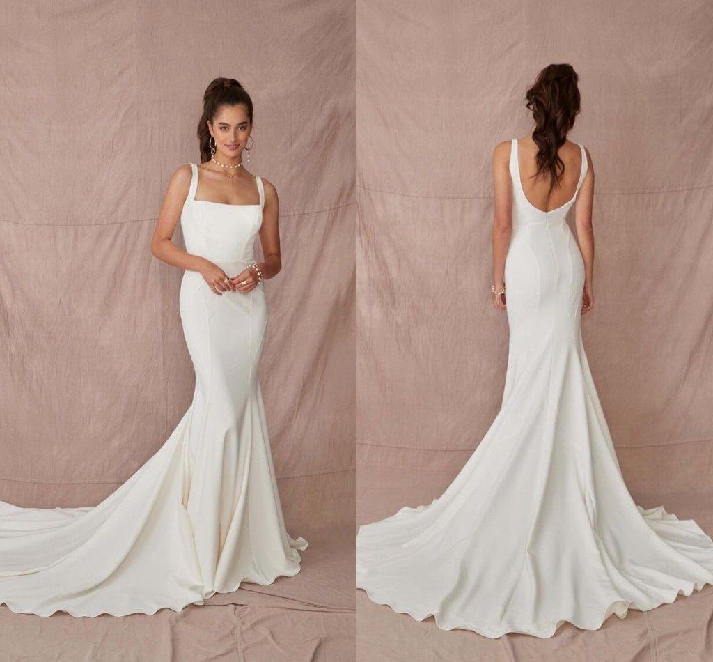 2021 Простые сатиновые русалки свадебные платья Sexy Spaghetti Brads Bridal Presss Sweep Train Backbloe Свадебное платье Роб Му Mariee