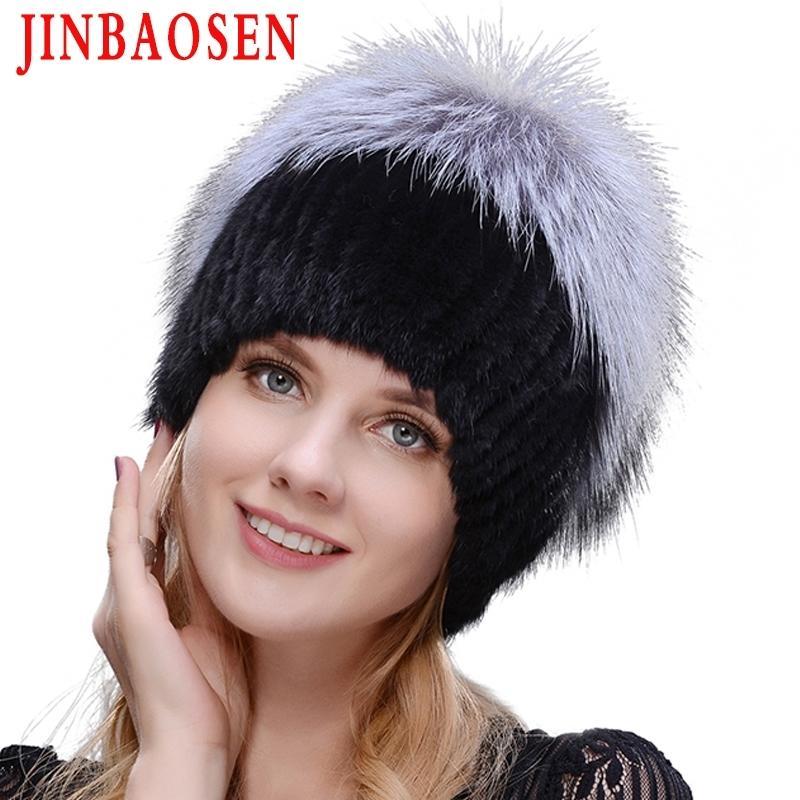 Jinbaosen Women's Winter Mink Hat Hat Real Silver Fox Ski Ski Natural Punto de Punto de Punto de Punto Marca Estilo ruso Y200103