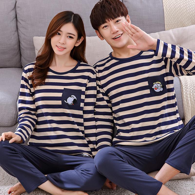 Herbst Winter Herren Baumwolle Pyjamas Brief Männer Pyjamas Anzug Paar Pyjamas Langarm Pijama Für Männchen Plus Größe Schlaf Kleidung Q1216