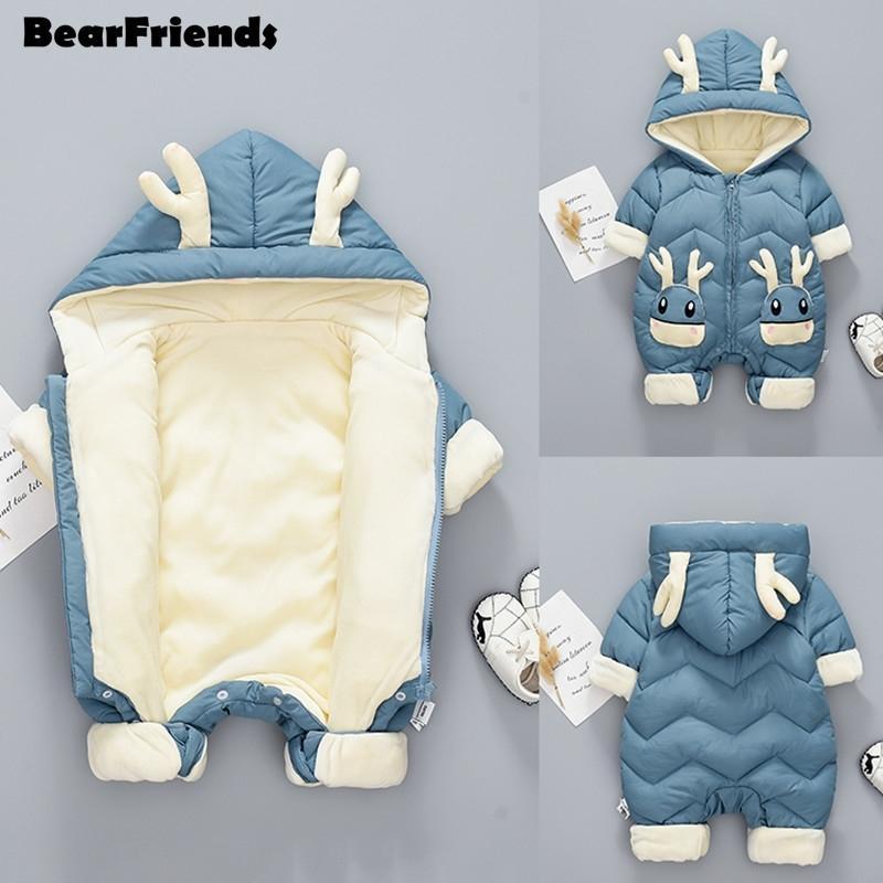 New Born Baby Girl Ropa Snowsuit de invierno más terciopelo grueso Baby Boy Boys Jumpsuit 0-3 años Ramper Boy Overly Foodler Coat 201030