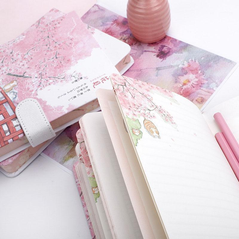 Notepads 2021 1PCS يوميات كتاب ساكورا دفتر فتاة حالة حساب قلب صغير طازج مشبك المغناطيسي A51