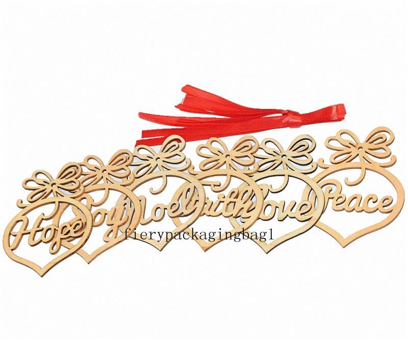 21T Noel Mektubu Ahşap Kilisesi Kalp Kabarcık Desen Süs Noel Ağacı Süslemeleri Ev Festivali Süsler Asılı Hediye, Torba Başına 6 PC