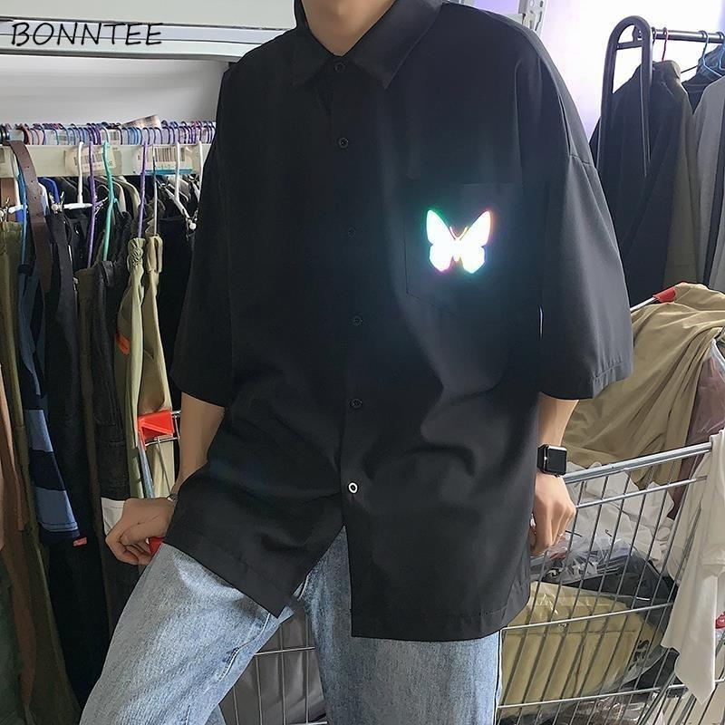 Camicie da uomo Maniche corte Estate Summer Single Single Breasted Riflettente Casual Style Coreano Stile Ulzzang Chic Camicia Maschio New Fashion Tops
