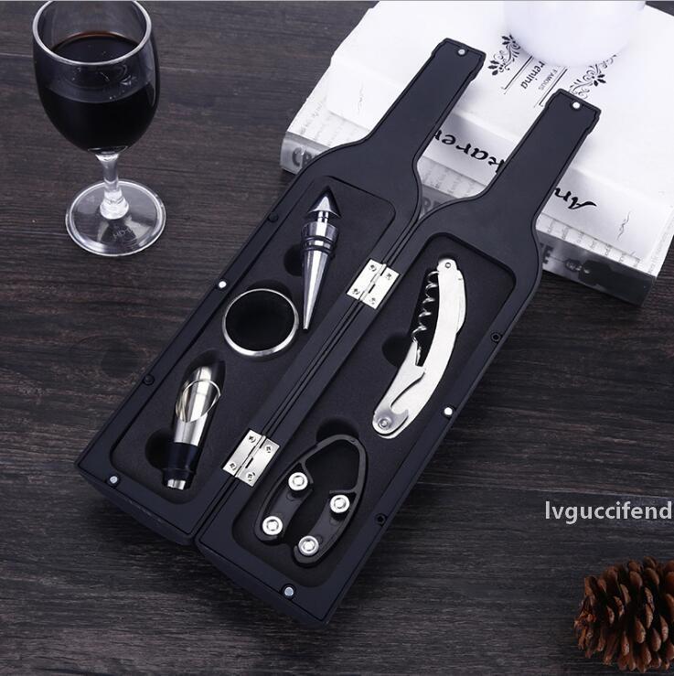 Accesorios de abrigo de botellas de vino de lujo Conjunto de regalo Botella de vino Abrelaje Tapón de vino Tapa de vino Anillo de goteo Cortador de lámina y Funda con forma de botella de flores