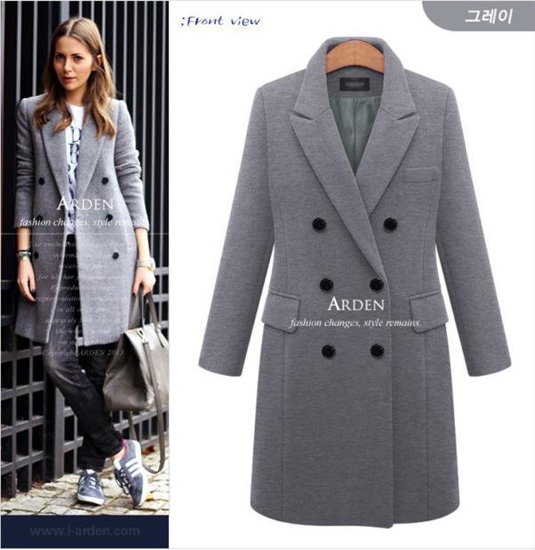Kadın Sonbahar Kış Coat Casual Yün Katı Ceketler Blazers Kadın Zarif Çift Göğüslü Uzun Ceket Bayanlar Boyutu 5XL FZ244