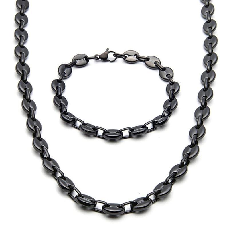 مجوهرات فضة 9MM واسعة / أسود / الذهب لهجة العلامة التجارية قلادة سوار جديد الفولاذ المقاوم للصدأ حبة البن ربط سلسلة أزياء الرجال / المرأة