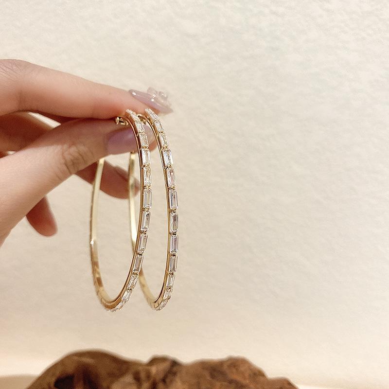Designer Earring 925 silver needle European and American Diamond Hoop Earrings feminine versatile