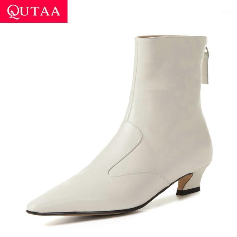 QUTAA 2021 Pointed Toe Quality Cow Leather Ankle Boots Autumn Winter Fashion Square Heel Zipper Women Shoes Big Size 34-431