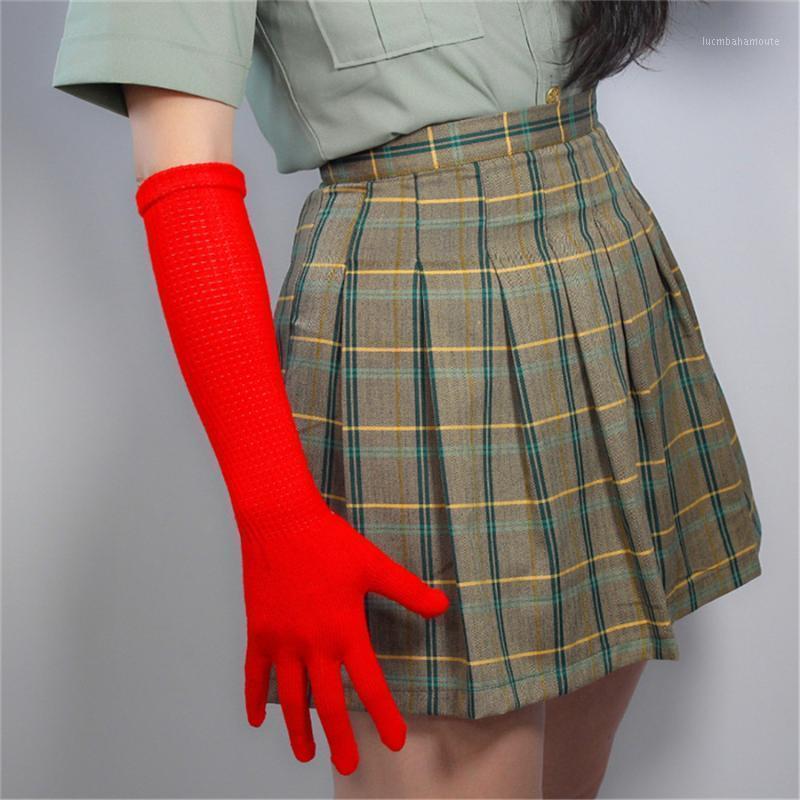 Femmes longues gants de laine de laine 40cm tricoter cinq fngers Haute élasticité avec des modèles en laine chaud grand rouge ex-usine Prix z40-51